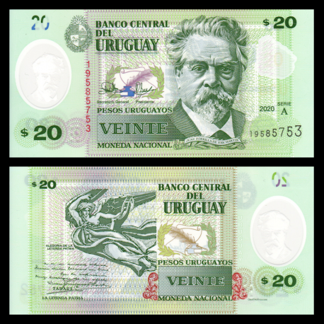 Uruguay, Uruguay, P-101, 20 pesos, 2020, polymer