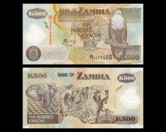 Zambia, P-43d, 500 kwacha, 2005, Polymer