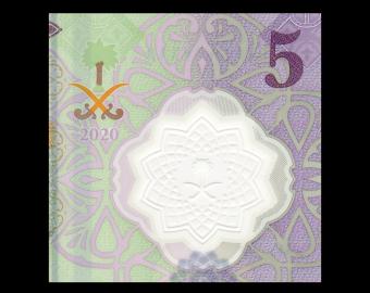 Arabie Saoudite, P-New, 5 riyals, 2020, polymère