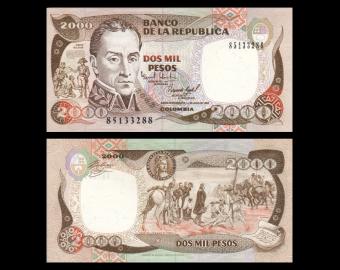 Colombia, P-439a, 2 000 pesos, 1993