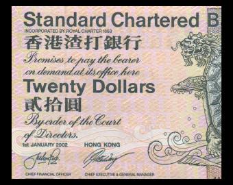 HongKong, P-285d, 20 dollars, 2002