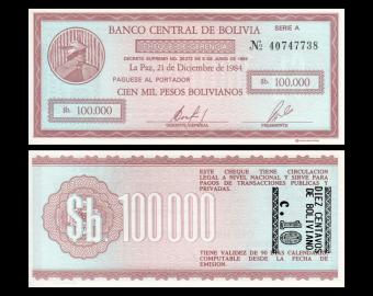 Bolivia, P-197, 100 000 bolivianos, D. 05.06.1984
