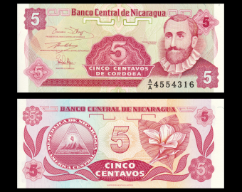 Nicaragua, P-168a, 5 centavos, 1991