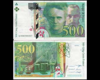 France, P-160a, 500 francs, Pierre&Marie CURIE, 1994