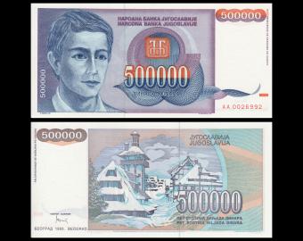 Yugoslavia, P-119, 500 000 dinara, 1993