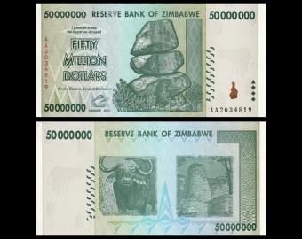 Zimbabwe, P-079b, 50 000 000 dollars, 2008, PresqueNeuf / a-UNC