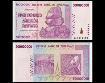 Zimbabwe, P-082, 500 000 000 dollars, 2008, PresqueNeuf / a-UNC