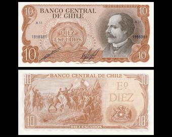 Chile, P-143b, 10 escudos, 1970