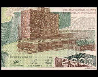 Mexico, P-086c, 2.000 pesos, 1989
