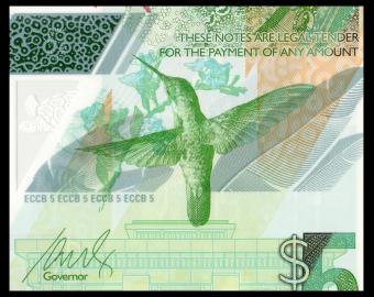 Caraïbes, P-New, 5 dollars, 2021, polymère