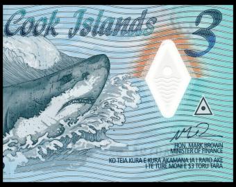 Cook Islands, P-11, 3 dollars, 2021, polymer