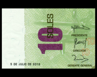 Peru, P-192b, 10 soles, 2018
