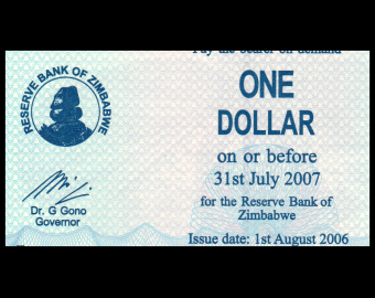 Zimbabwe, P-037, 1 dollar, 2006