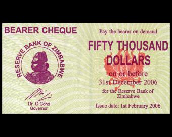 Zimbabwe, P-030, 50 000 dollars, 2006