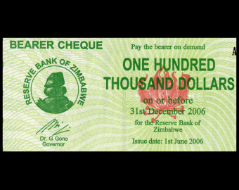 Zimbabwe, P-032, 100 000 dollars, 2006, PresqueNeuf / a-UNC