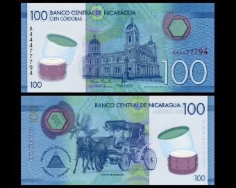 Nicaragua, P-212, 100 cordobas, polymère, 2014