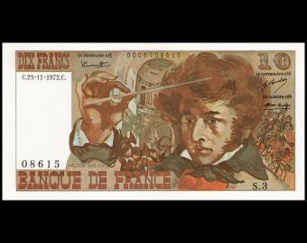 France, P-150b, 10 francs, Berlioz, 1972