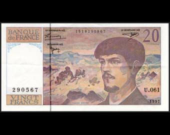 France, P-151i, 20 francs Debussy, 1997 ExFine