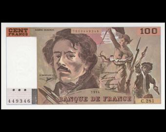 France, P-154h, 100 francs Delacroix, 1994