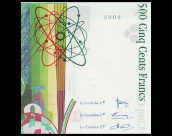 France, P-160d, 500 francs, Pierre&Marie CURIE, 2000, PresqueNeuf / a-UNC