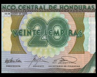 Honduras, P-087b, 20 lempiras, 2003