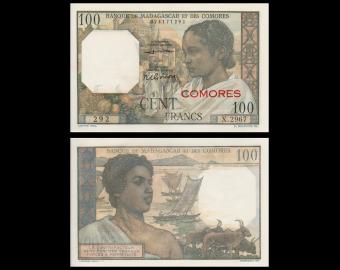 Comores, P-03b2, 100 francs, 1963, PresqueNeuf / a-UNC