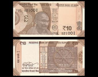 India, P-109h, 10 rupees, 2018