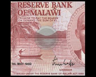 Malawi, P-23b, 1 kwacha, 1992, PresqueNeuf / a-UNC