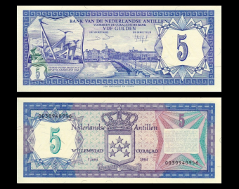 Antilles Néerlandaises, P-15b, 5 gulden, 1984
