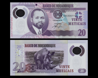 Mozambique, P-new, 20 meticais, Polymer, 2011