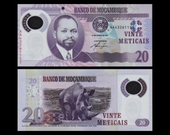 Mozambique, P-new, 20 meticais, Polymer, 2011