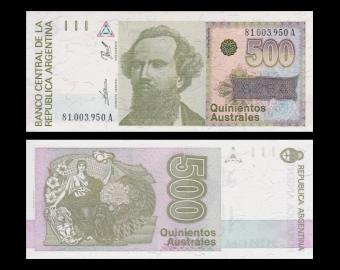 Argentine, P-328b, 500 australes, 1990