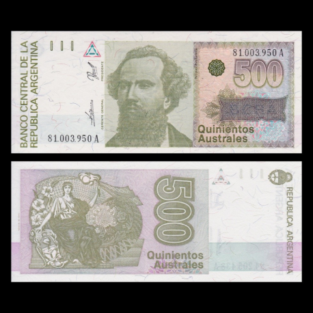 Argentine, p-328b , 500 australes, 1990