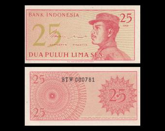 Indonésie, P-093, 25 sen, 1964