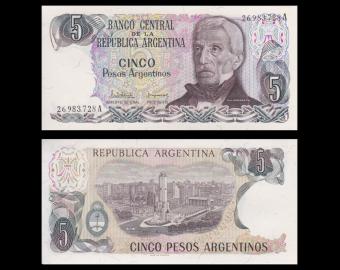 Argentina, P-312a1, 5 pesos argentinos, 1983-84