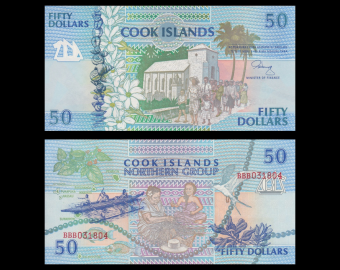 Iles Cook, P-10, 50 dollars, 1992