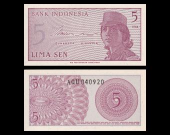 Indonésie, P-091, 5 sen, 1964