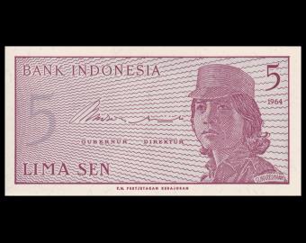 Indonesia, P-091, 5 sen, 1964