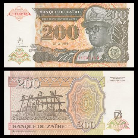 Zaire, P-61, 200 nouveaux zaires, 1994, PresqueNeuf