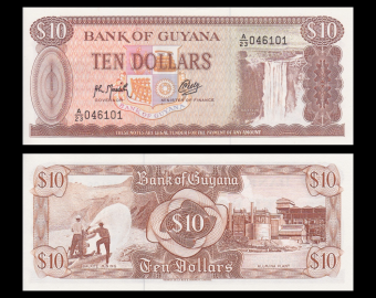Guyana, P-23f, 10 dollars, 1992