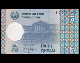 Tajikistan, P-11, 5 diram, 1999