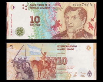 Argentina, P-360, 10 pesos, 2016