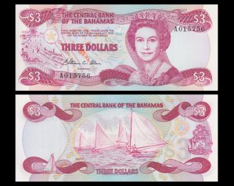 Bahamas, p-44, 3 dollars, 1984