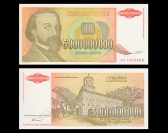 Yougoslavie, P-135, 5 000 000 000 dinara, 1993