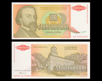 Yugoslavia, p-133, 5.000.000.000 dinara, 1993, A-UNC
