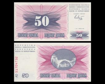 Bosnia and Herzegovina, P-12, 50 dinara, 1992