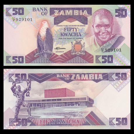 Zambia, p-28, 50 kwacha, 1986-88