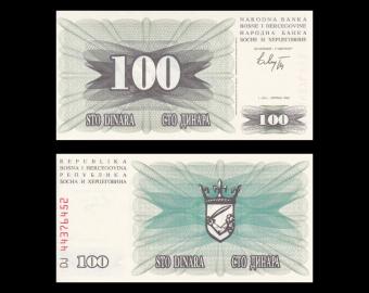 Bosnia and Herzegovina, P-013, 100 dinara, 1992