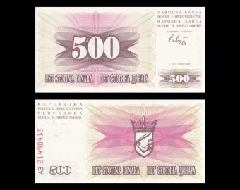 Bosnie-Herzégovine, P-14, 500 dinara, 1992