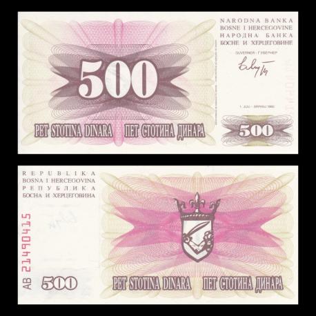 Bosnia and Herzegovina, P-014, 500 dinara, 1992